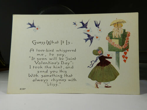 Valentine's Day #619F Owen Card Pub Co Div Back Postcard Not Posted EX-NM