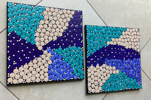 """Original Acrylic Paintings, Set of 2, Aboriginal Art 12""""x12"""" on Stretched Canvas"""