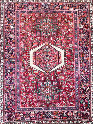 """C 1950 Authentic Vintage Exquisite Hand Made Rug 5' 1"""" x 6' 6"""" (INV#856)"""