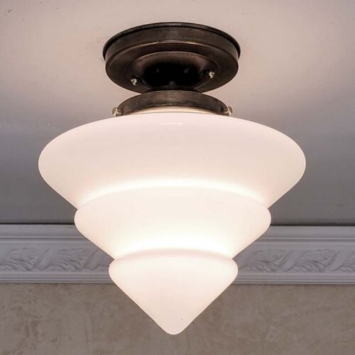 796a Vintage arT Deco Glass Shade Ceiling Light Fixture hall entry bath 4 tiered