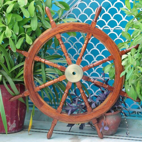 Nautical Handcrafted 36 Inch Antique Large Wooden Ship Wheel Wall Decor
