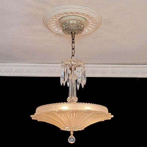 913b Vintage antique Ceiling Light Lamp Fixture glass shade crystal Chandelier