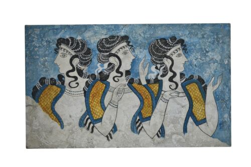 Ladies in Blue Knossos Minoan Palace Crete REAL Fresco Female Painting on Wall