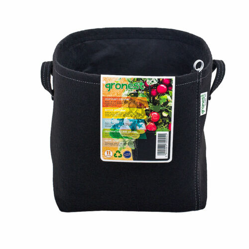 1 X GRONEST grow bag 11L Black handles safe roots fabric container Made in EU