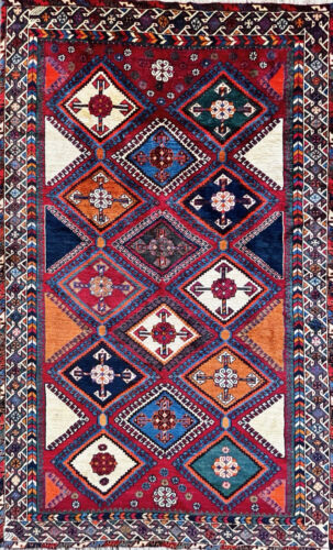 """C 1970 Authentic Vintage Exquisite Hand Made Rug 4' 10"""" x 7' 11"""" (INV#19)"""