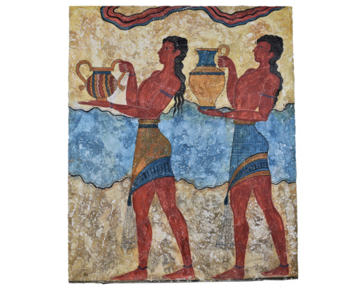 Cup-Bearer Minoan Real Fresco from Knossos Palace Crete Painting on Wall