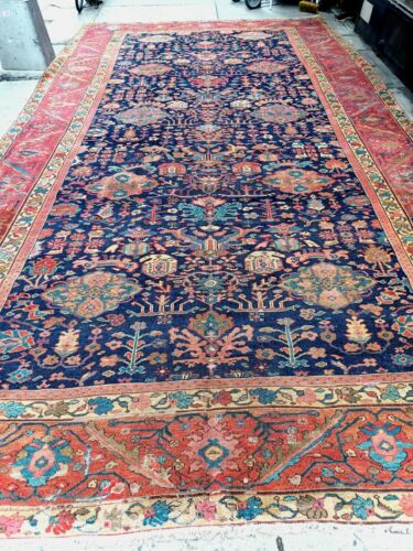 """Antique rare hand woven Middle Eastern Sultanabad Carpet 9'6""""x18'6"""" c. 1875"""