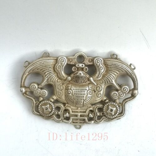 Collection Old Chinese Tibet Silver Carving Bat Amulet Pendant Decoration Gift