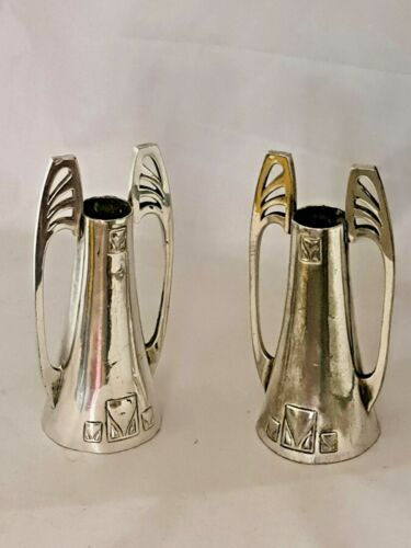 ANTIQUE PAIR OF WMF PEWTER ART NOUVEAU SILVER PLATED CANDLE STICK HOLDERS C1906