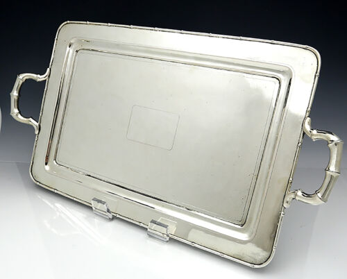 CHINESE EXPORT SILVER Large Tray with Handles by ZEEWO 57 oz