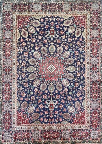 """C 1950 Authentic Vintage Exquisite Hand Made Rug 4' 9"""" x 6' 8"""" (INV#1428)"""
