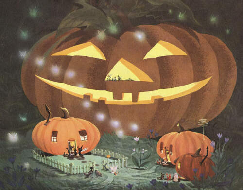 Halloween in Bugsville, Jack O Lantern houses by Art Riley