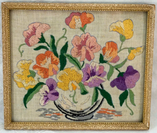 Antique Needlepoint Flowers Pansies Framed W. Frank Gadsby England
