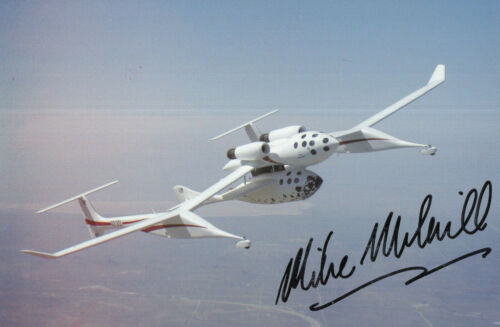 MIKE MELVILL HAND SIGNED 4x6 COLOR POSTCARD+COA        SPACESHIP ONE PILOT