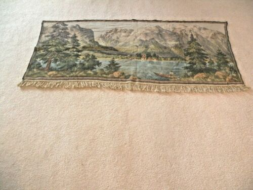 """OLD WALL HANGING TAPESTRY MOUNTAIN & LAKE SCENE HAND WOVEN 60"""" L x 26"""" W"""