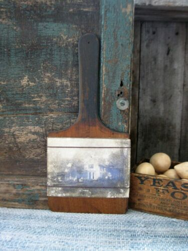 Antique Wood Bread Cutting Board w True Antique House Photograph Free Shipping