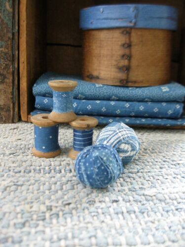 3 Small Antique Wood Spools Wrapped in 1890s Blue Calico & 2 Tiny Rag Balls