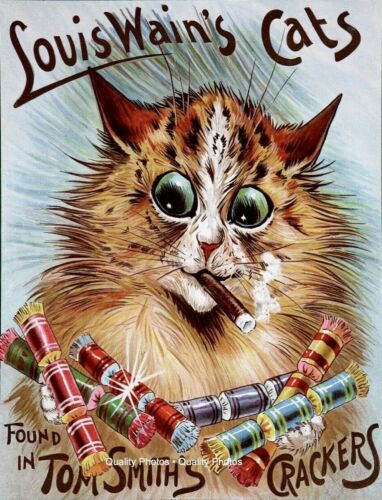 """Cat in Tom Smith's Crackers Advertisement 8.5x11"""" Photo Print Louis Wain Cigar"""