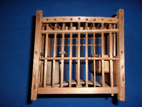 ANTIQUE WOODEN COAL MINE MINING MINERS CANARY BIRDCAGE WATER AND FOOD TROUGH