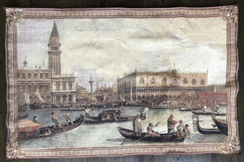 """Antique Venice Italian Tapestry from Columbus Museum 53"""" x 34"""" Vintage."""