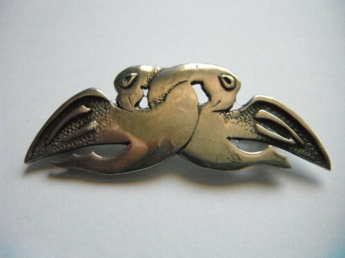 RARE! Early Ola Gorie Pictish Zoomorphic Brooch 1959/1963 Mark Sterling Silver.