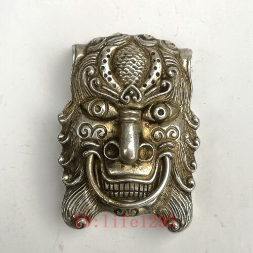 Collection Old China Tibet Silver Handmade Lion Buckle Belt Fastener Decoration