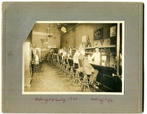 """1920 Original Vintage """"Bakersfield Cafe,"""" California Lunch Counter Cabinet Photo <br/> Lunch Counter Advertising Oyster Pudding Merchant Lunch"""
