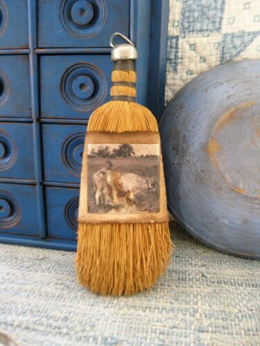Antique Whisk Broom Feed Sack Sleeve w Old Photo Print