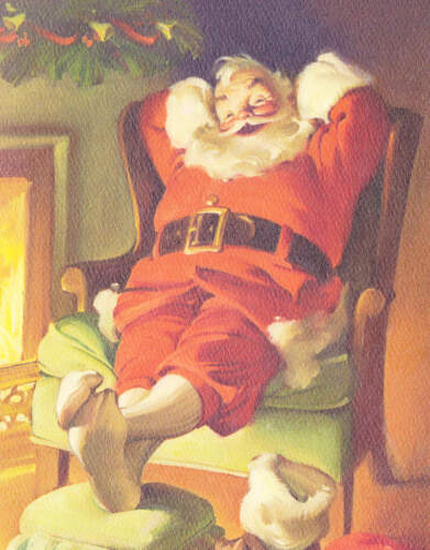 Christmas Santa Relaxing by Fire vintage art