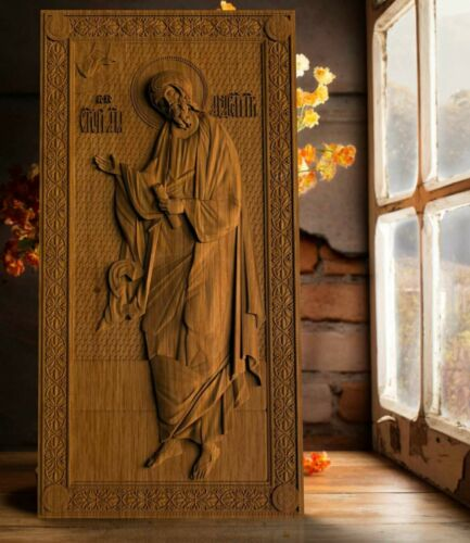 Saint Andrew WOOD CARVED CHRISTIAN ICON RELIGIOUS  WALL HANGING ART WORK