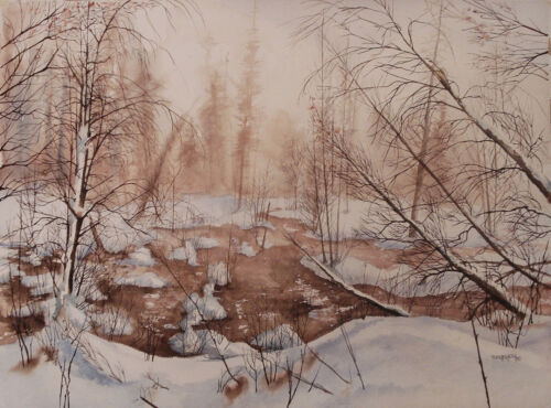 Snowscape Watercolor Painting Tom Geyer 1980 Olympic Poster Artist Signed