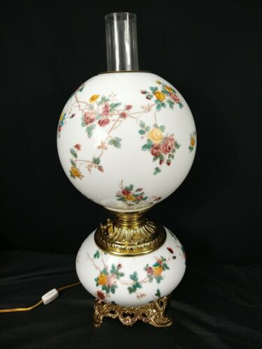Consolidated Glass GWTW Banquet Oil Lamp Roses Gone with the Wind Victorian