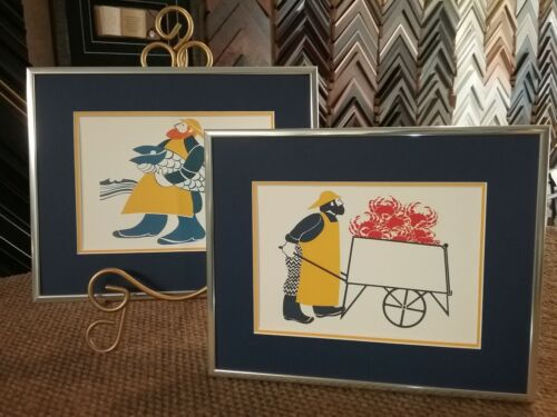 """New! Two Custom Framed Art Cards """"CANNERY WORKER/CANNERY WORKER CRAB"""" Rie Munoz"""