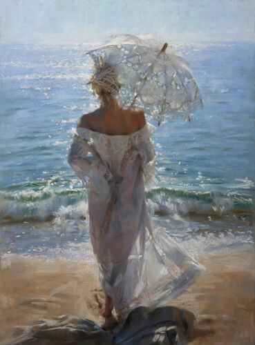 Beach Umbrella girl Oil Painting Giclee Art Printed on canvas 12x16 inches L1454