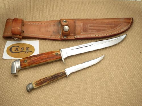 Vintage CASE XX Fixed Blade Knives Genuine Stag TWO XX Era Knives & Twin Sheath