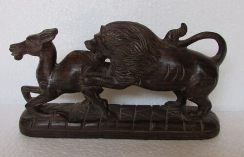 Vintage Old Wooden Hand Carved Lion Hunting Statue, Collectible