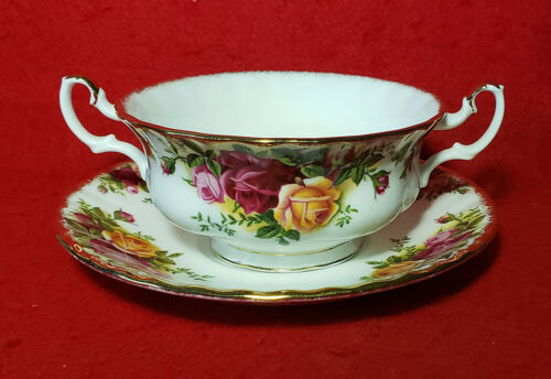 """ROYAL ALBERT """"OLD COUNTRY ROSES"""" CREAM SOUP BOWL & SAUCER GOLD TRIM ENGLAND"""