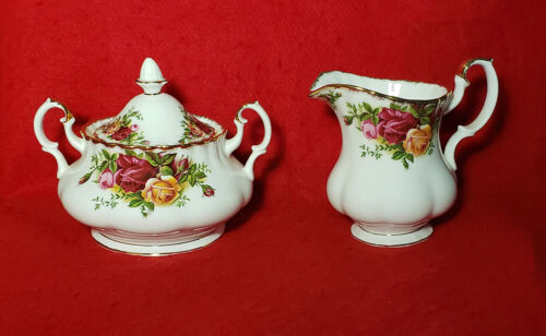 """ROYAL ALBERT """"OLD COUNTRY ROSES"""" CREAMER & SUGAR BOWL WITH LID GOLD TRIM ENGLAND"""