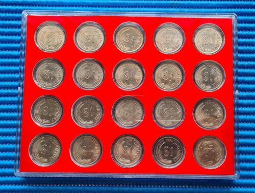 1967-1985 Singapore $1 Lion Coin with Display Case & Stand: Price for 20X Coins