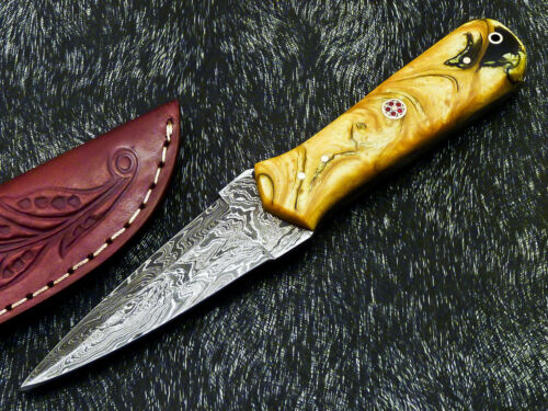 """Authentic CUSTOM HAND FORGED DAMASCUS 8.0"""" DAGGER KNIFE - RESIN HANDLE- PS-222"""