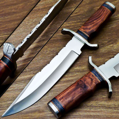 UNIQUE CUSTOM HANDMADE D2 STEEL BLADE BOWIE HUNTING KNIFE - NATURAL WOOD WD-9501