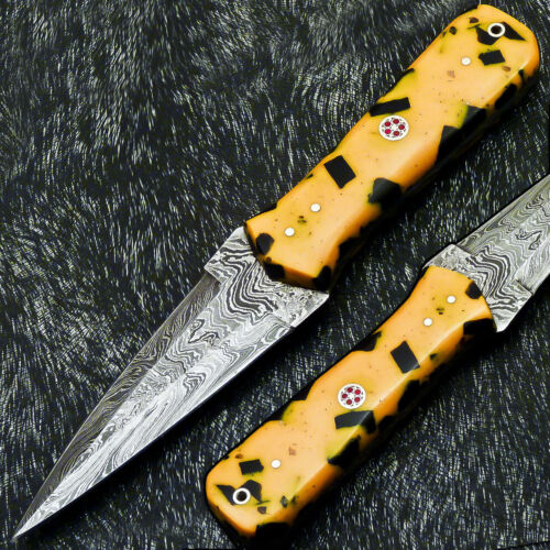 """Authentic CUSTOM HAND FORGED DAMASCUS 8.0"""" DAGGER KNIFE - RESIN HANDLE- PS-231"""