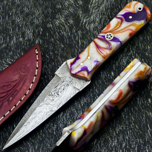 """Authentic CUSTOM HAND FORGED DAMASCUS 8.0"""" DAGGER KNIFE - RESIN HANDLE- PS-251"""