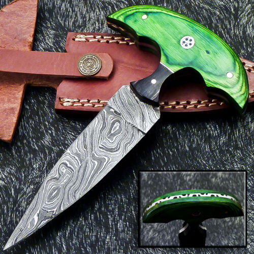 """Authentic HAND FORGED DAMASCUS 6.5"""" DAGGER KNIFE - HARD WOOD HANDLE- WD-9286"""
