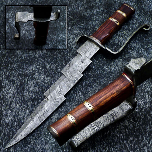 """Authentic HAND FORGED DAMASCUS 16.0"""" HUNTING KNIFE - NATURAL WOOD - WD-9563"""