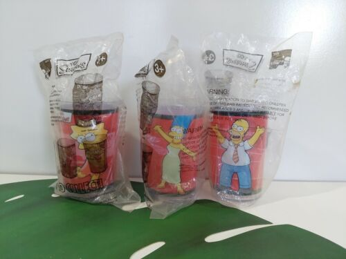 New In Packet - 3 x The Simpsons Collectable KFC Plastic Cups 2006