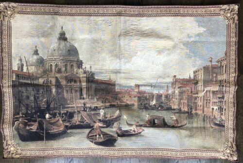 """Antique Venice Italian Tapestry from Columbus Museum LARGE 53"""" x 34"""" Vintage"""