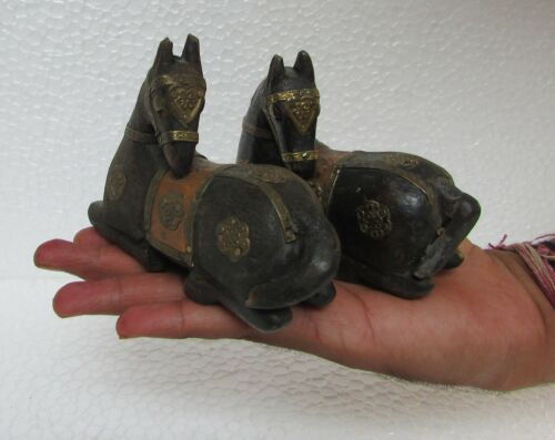 Vintage Old Hand Carved Unique Shape Horse Statue Collectible, 2 Pc