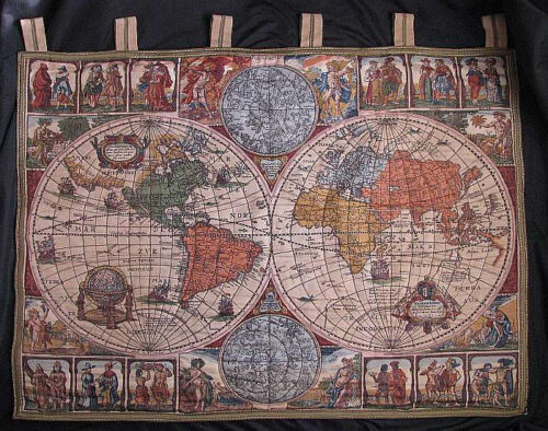 VINTAGE EMBROIDERED NICOLAS VISSCHER REPRO 1652 LATIN OLD WORLD MAP ART TAPESTRY