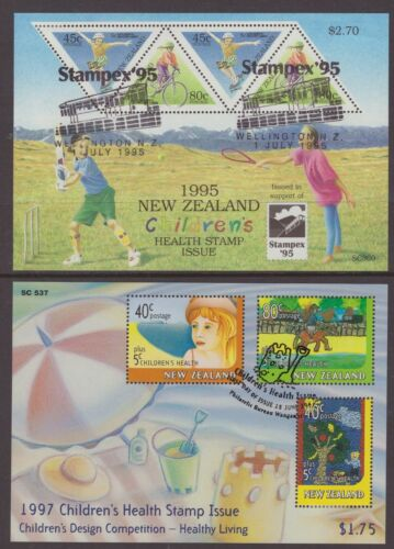 New Zealand 2 x Health Stamp miniature sheets 1995, 1997